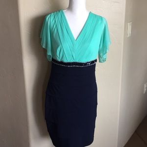 Navy and Mint Green Cocktail Dress